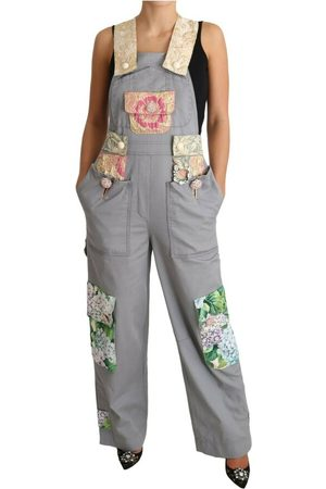 Dolce & Gabbana Overalls Jeans Crystal Hortensia