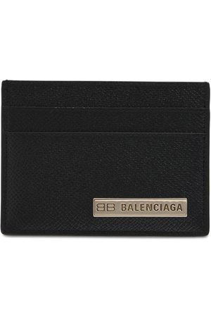 Balenciaga Metal Logo Leather Card Holder