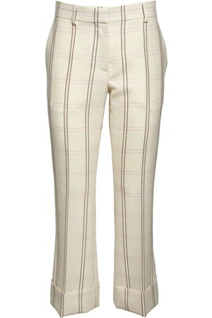ROCHAS Silk & Wool Check Cropped Flared Pants