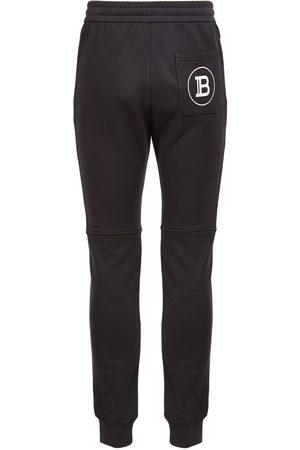 Balmain Mænd Joggingbukser - Logo Print Cotton Jersey Sweatpants