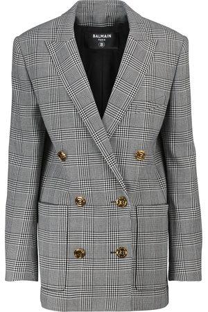 Balmain Wool-blend checked blazer