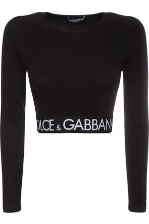 Dolce & Gabbana Kvinder Kortærmede - Logo Cotton Jersey Cropped T-shirt