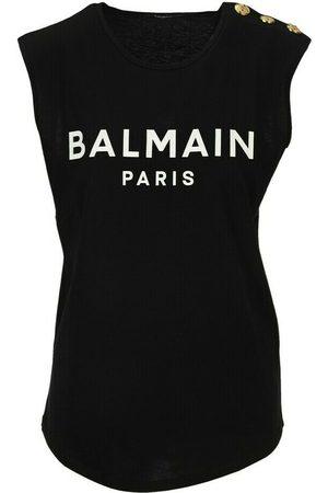 Balmain Black Cotton Sleeveless T-shirt With White Logo Print