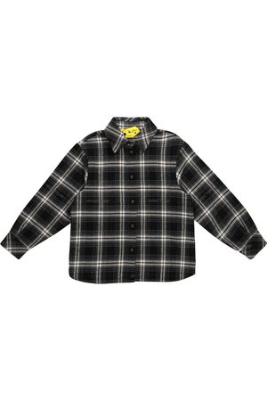 Off-White Kids Piger Toppe - Checked cotton-blend flannel shirt