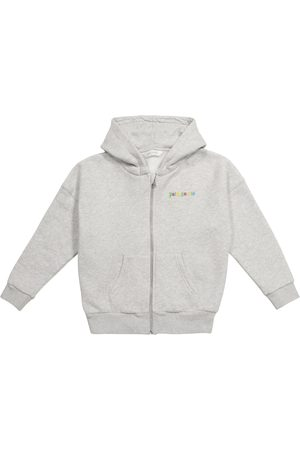 Palm Angels Logo zip-up cotton hoodie