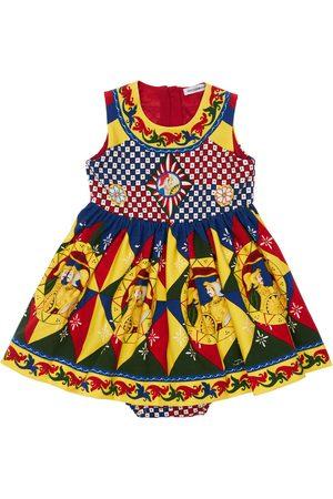 Dolce & Gabbana All Over Print Cotton Dress W/ Diaper