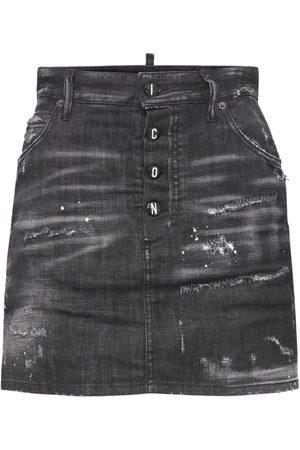 Dsquared2 Dalma Stretch Cotton Denim Mini Skirt