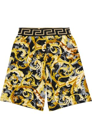 VERSACE Drenge Shorts - Baroccoflage-print cotton shorts