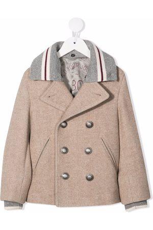 Brunello Cucinelli Dobbeltradet frakke med kontrastkrave