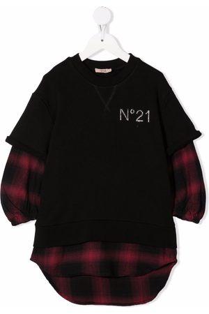 Nº21 TEEN layered logo-embellished dress