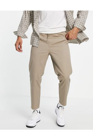 Only & Sons Beige cropped chinos med løbesnor-Neutral