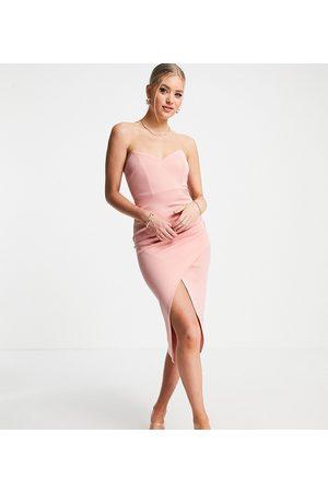 ASOS ASOS DESIGN Tall - Pink bandeau slå-om-midikjole-Lyserød