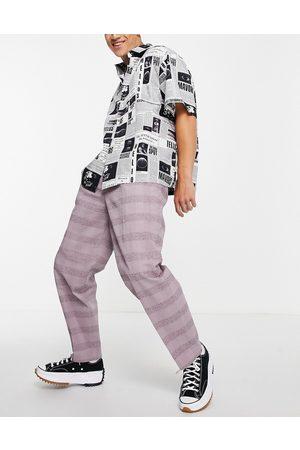 ASOS Oversized, tapered, elegante bukser med lyslilla tern i hør