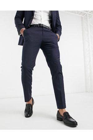Burton Marineblå habitbukser med nålestriber i slim fit