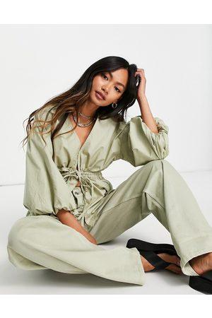 ASOS Kakigrøn kimono-top med pufærmer og bindebånd i taljen