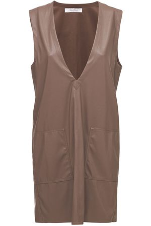 Max Mara Faux Leather V Neck Mini Dress