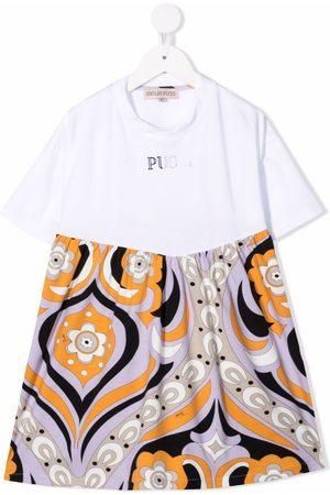 Emilio Pucci Junior T-shirt-kjole med falmet logotryk