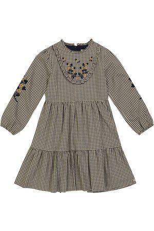 Tartine Et Chocolat Embroidered gingham stretch-cotton dress