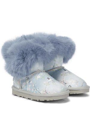 MONNALISA Piger Støvler - Fur-trimmed floral leather boots