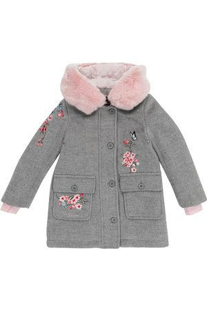 MONNALISA Floral-embroidered coat