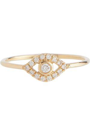 Sydney Evan Evil Eye 14kt gold ring with diamonds