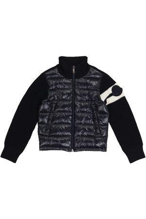 Moncler Drenge Vinterjakker - Quilted down and wool-blend cardigan