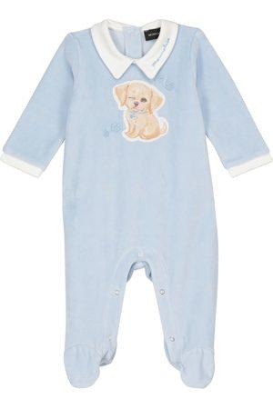 MONNALISA Baby embroidered velour onesie