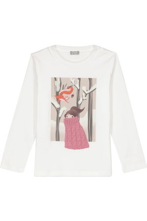 Il gufo Wool-trimmed printed cotton jersey top