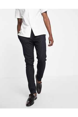 ASOS DESIGN Mænd Chinos - Tapered elegante bukser i stribet navy-Marineblå
