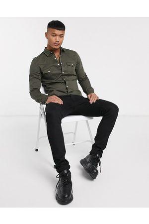ASOS Western-skjorte i kakigrønt denim i skinny fit