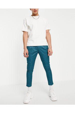ASOS DESIGN Elegante tapered croppede bukser med retrostriber i - Del af sæt