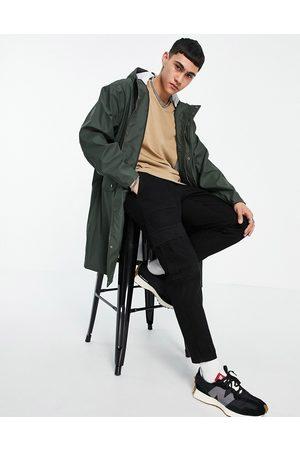 ASOS DESIGN Vandtæt gummieret regnjakke i khaki-Grøn