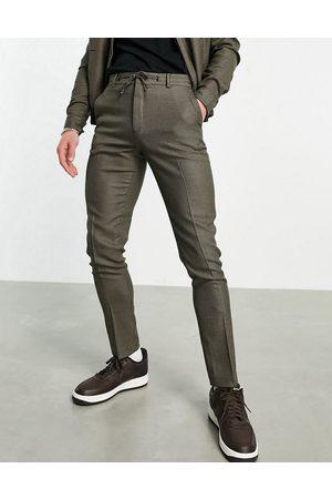 ASOS DESIGN Elegante skinny-joggingbukser i brune mikrotern - Del af sæt
