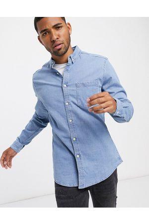 ASOS Mænd Denimskjorter - Stretch slim denim skjorte i bleach wash-Blå