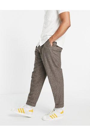 ASOS Mænd Chinos - Elegante, oversized, tapered bukser i pepita-tern-Neutral