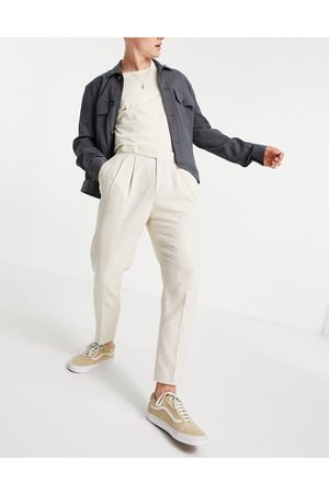 ASOS Elegante tapered bukser i crosshatch-Neutral