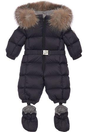 MONCLER New Jean Nylon Down Romper W/ Fur