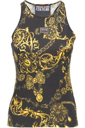 VERSACE JEANS COUTURE Printed Cotton Jersey Tank Top