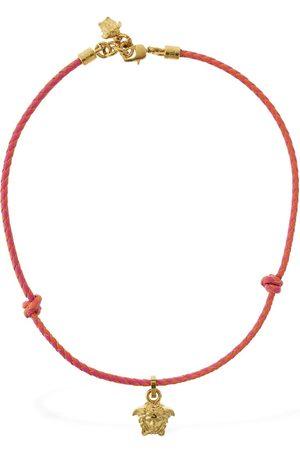 VERSACE Medusa Charm Leather Chain Necklace