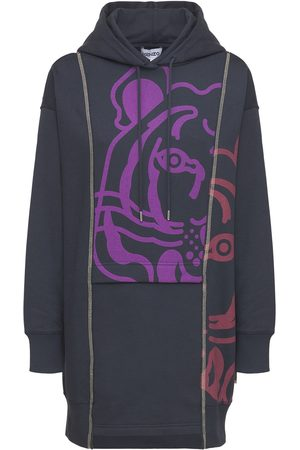 KENZO Printed K-tiger Cotton Hoodie Mini Dress