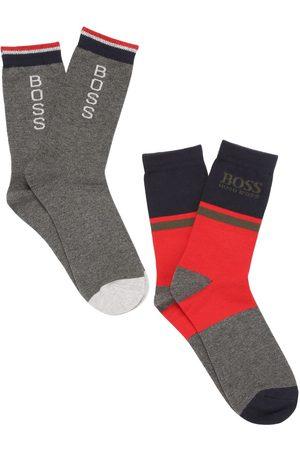HUGO BOSS Set Of 2 Logo Cotton Blend Knit Socks