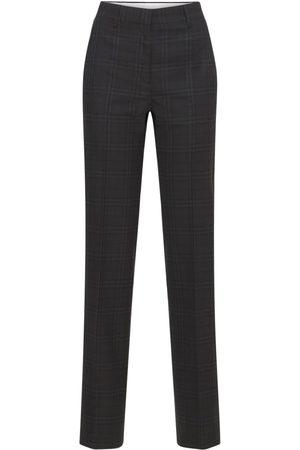 Burberry Lottie Check Wool Straight Leg Pants