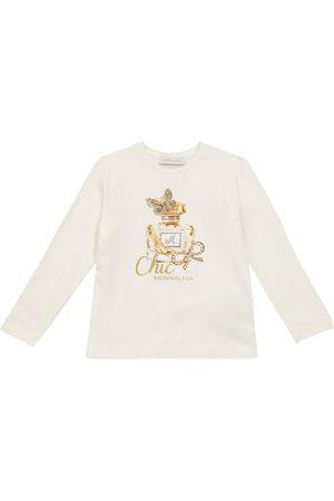 MONNALISA Piger Kortærmede - Embellished stretch-cotton jersey T-shirt