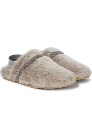 Brunello Cucinelli Embellished shearling slippers