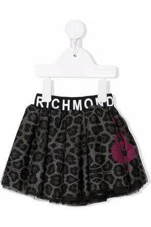 John Richmond Junior Leopard logo-print waistband skirt