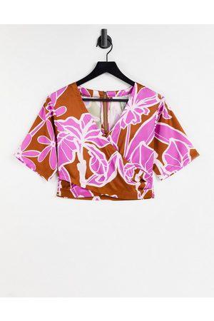 Liquorish Kimono-top i abstrakt blomstermønster - Del af sæt-Multifarvet