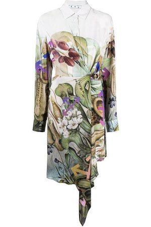 OFF-WHITE Robe chemise à imprimé végétal