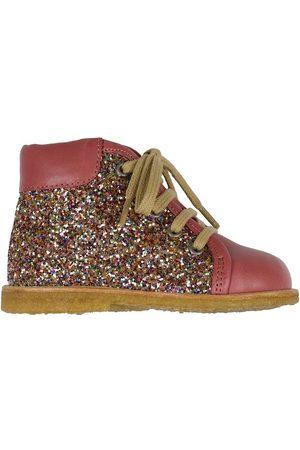 ANGULUS Lær-at-gå sko - Begyndersko - Mørk Rosa/Multi Glitter