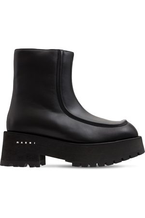 Marni Kvinder Ankelstøvler - 60mm Army Chunky Leather Ankle Boots