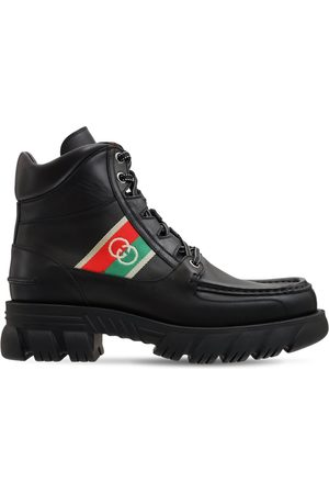 Gucci Gg Web Leather Boots